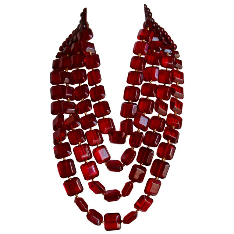 1980's VALENTINO oversized graduated necklace with ruby faceted beads 1