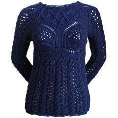COMME DES GARCONS navy pointelle hand-knit sweater with bra detail