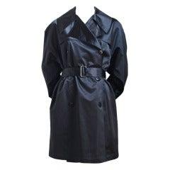 AZZEDINE ALAIA black sateen trench coat with belt - 1992