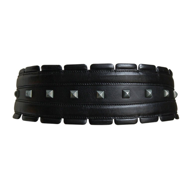 1990's AZZEDINE ALAIA black leather belt with silver pyramid studs 1