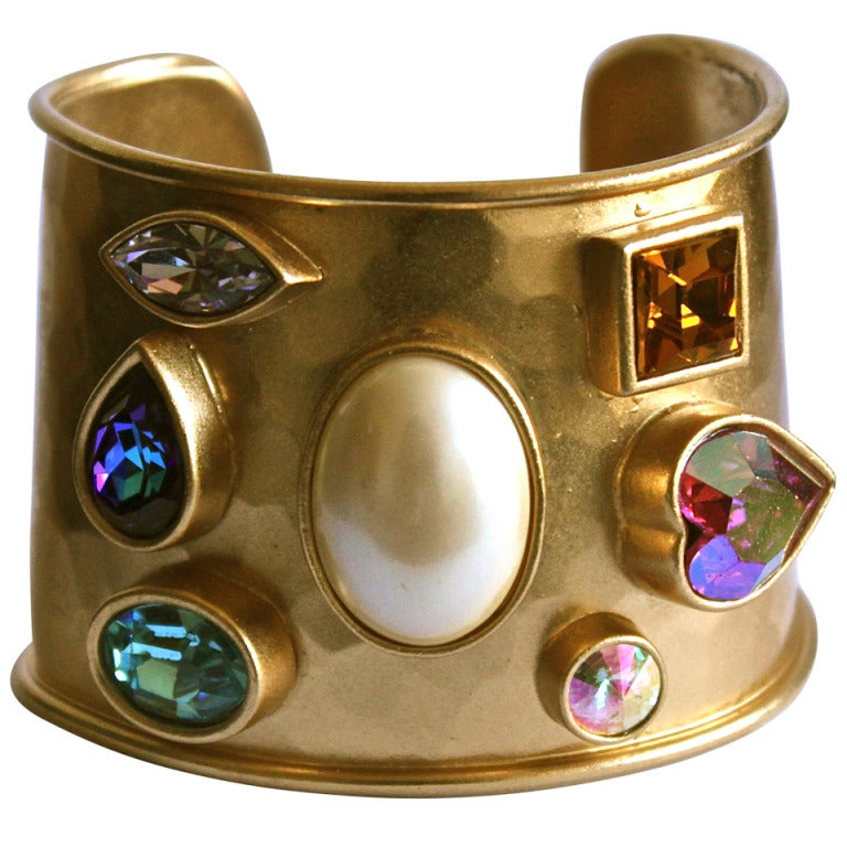 1980's YVES SAINT LAURENT heavy hammered gilt cuff with colorful faceted stones 1