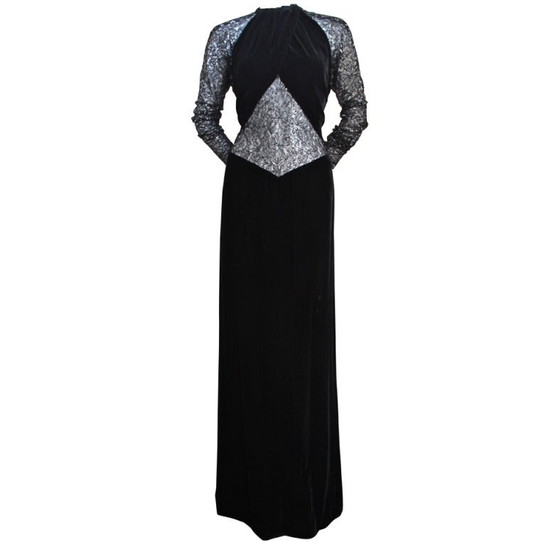 Jacqueline De Ribes black velvet gown with sheer lace panels