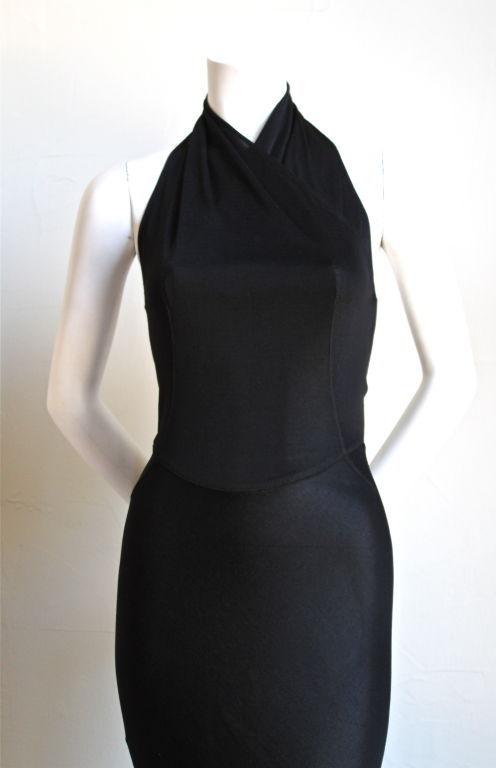1991 AZZEDINE ALAIA jet black backless halter gown 2