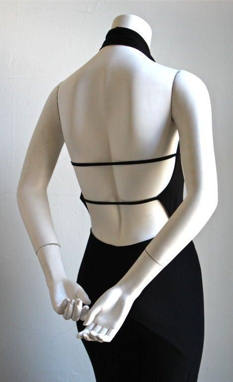 1991 AZZEDINE ALAIA jet black backless halter gown 3