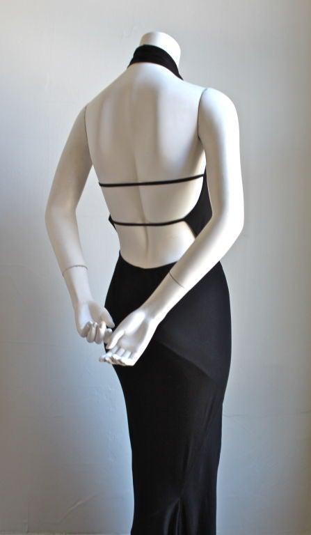 1991 AZZEDINE ALAIA jet black backless halter gown 4