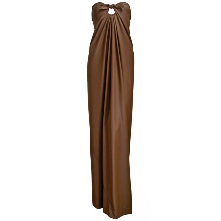 1976 HALSTON cocoa jersey spiral cut strapless gown For Sale
