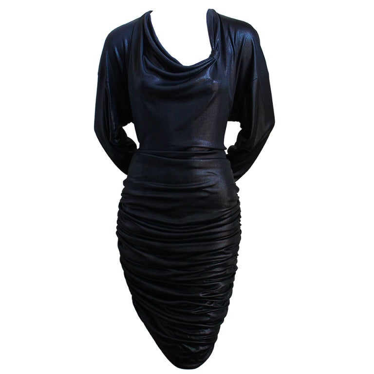 1980's PATRICK KELLY slinky black ruched dress For Sale