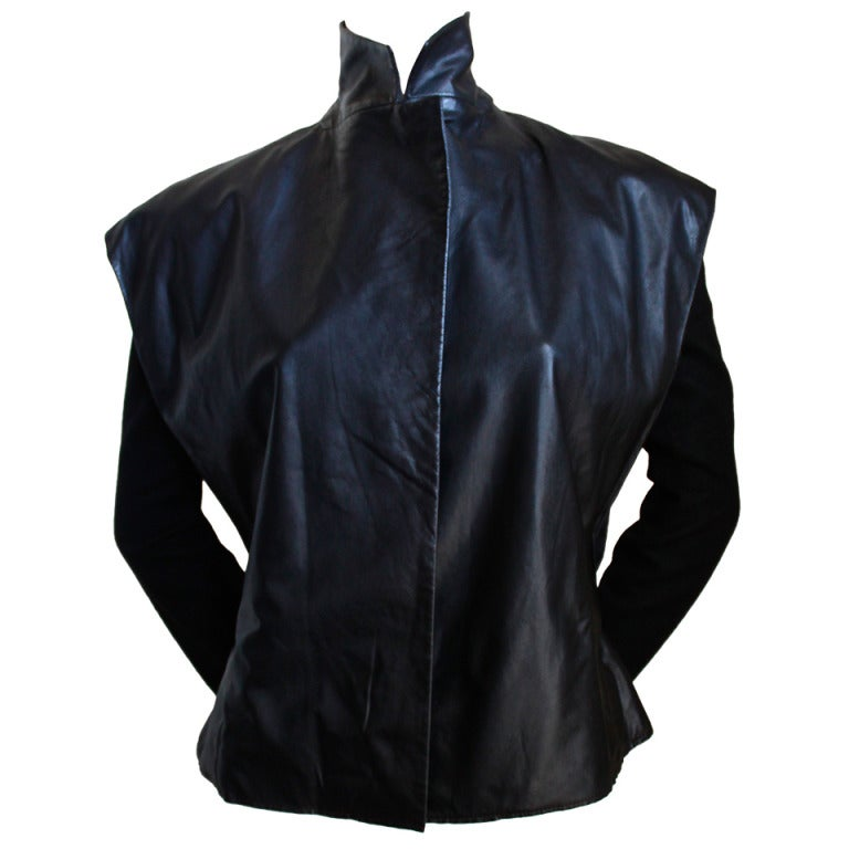 1999 Nicolas Ghesquiere for BALENCIAGA leather jacket worn on runway  For Sale
