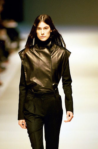 Black 1999 Nicolas Ghesquiere for BALENCIAGA leather jacket worn on runway  For Sale
