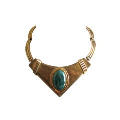 MORITA GIL brass modernist necklace with large oval cabochon