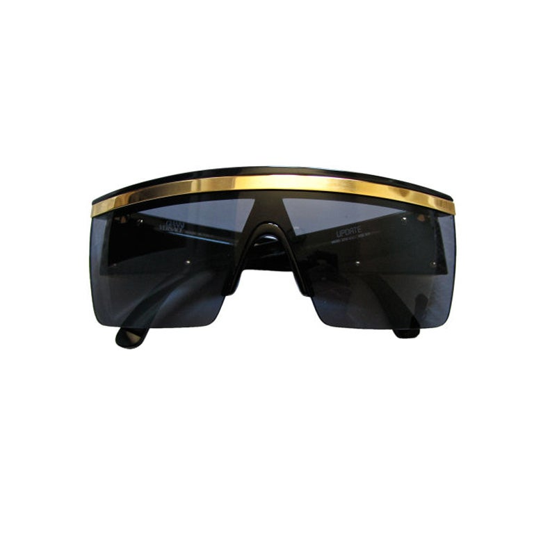 GIANNI VERSACE black shield sunglasses with gold trim