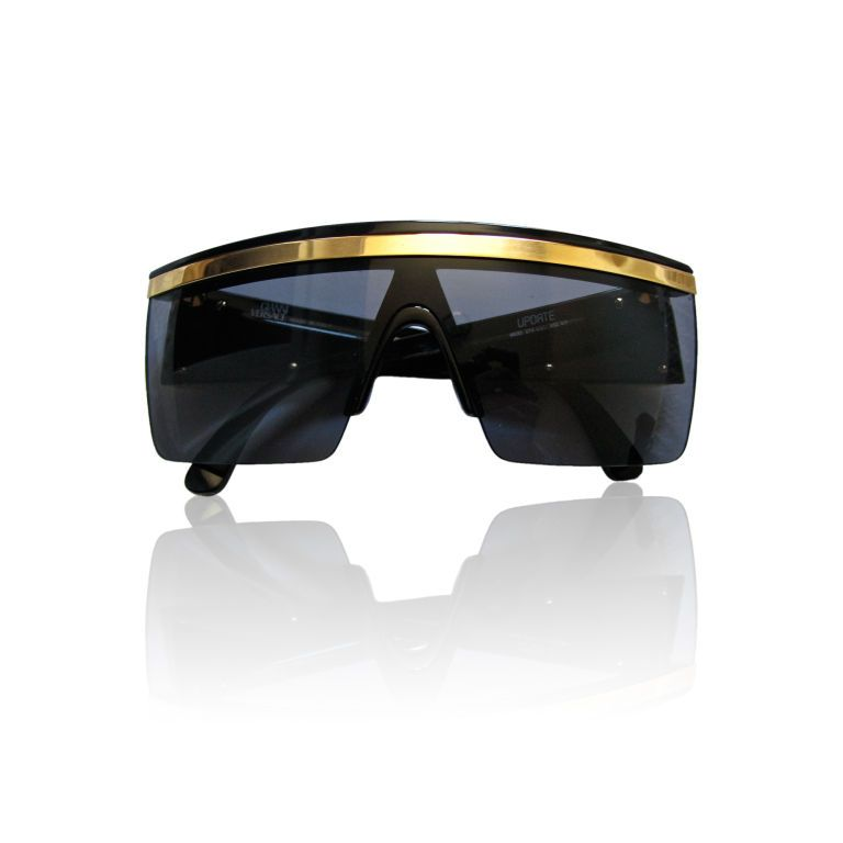 GIANNI VERSACE black shield sunglasses with gold trim image 2