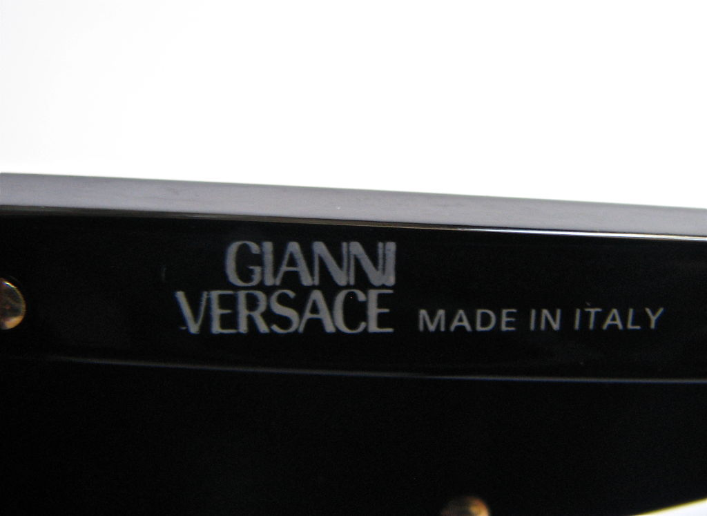 GIANNI VERSACE black shield sunglasses with gold trim image 4