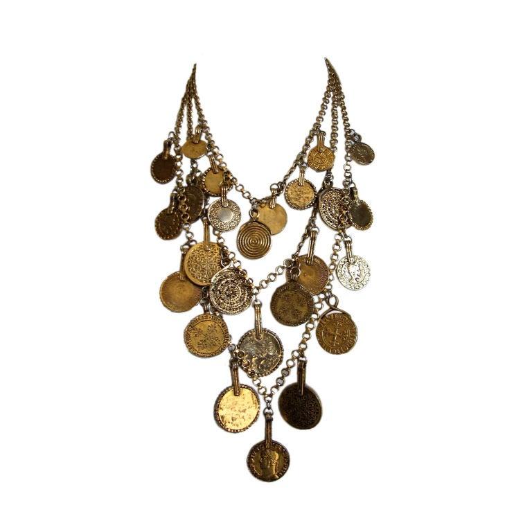YVES SAINT LAURENT triple layered gilt coin necklace 1