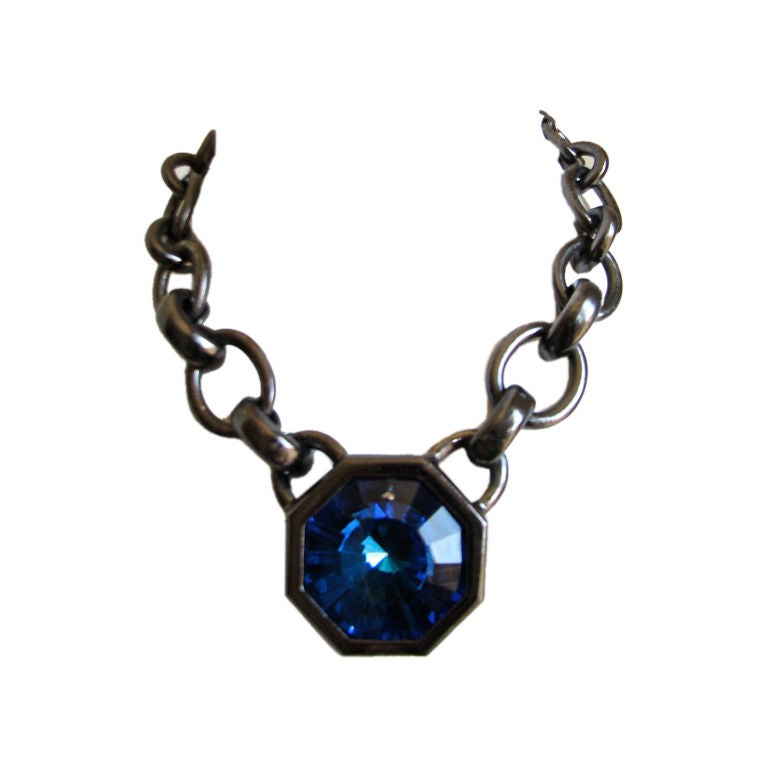 YVES SAINT LAURENT gunmetal necklace with sapphire glass 'prism'