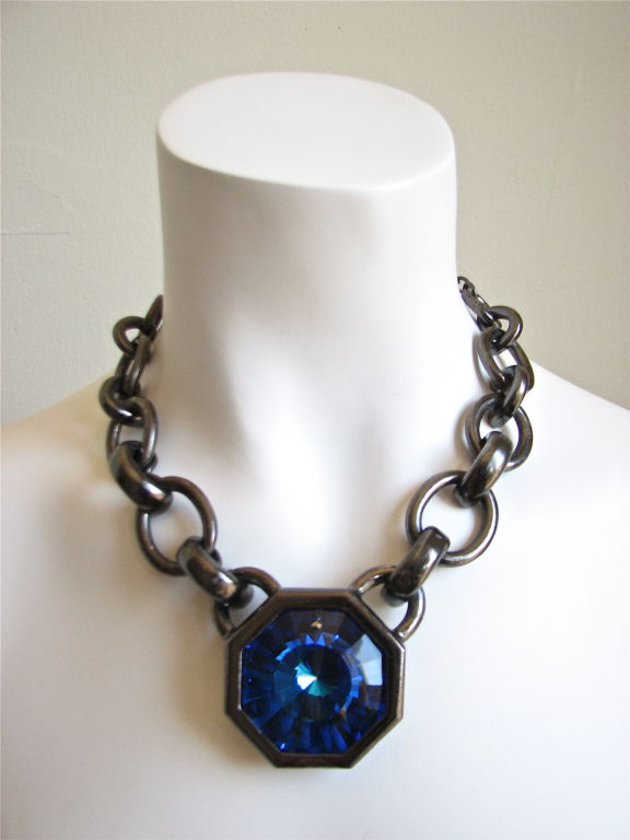 Yves Saint Laurent rive gauche crystal prism necklace. Large and dramatic. Sapphire blue glass with gunmetal hardware. Very good/excellent condition.