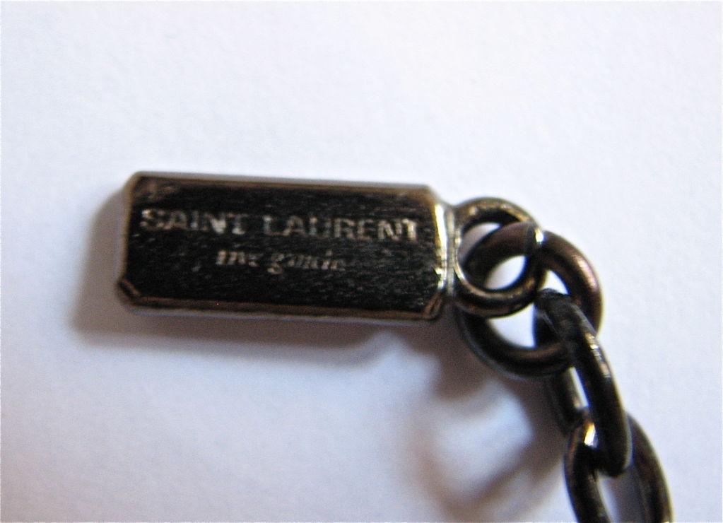 Women's YVES SAINT LAURENT gunmetal necklace with sapphire glass 'prism'