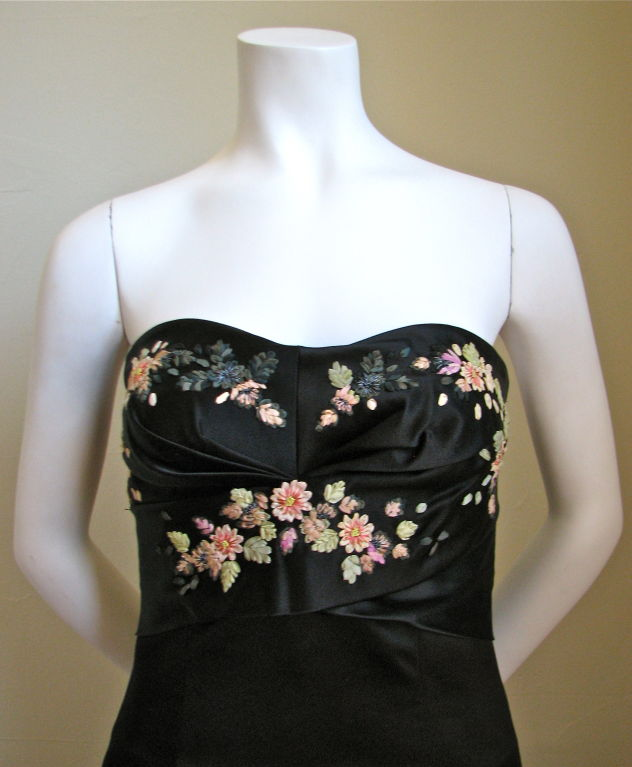 Alexander mcqueen silk bustier dress with ribbon