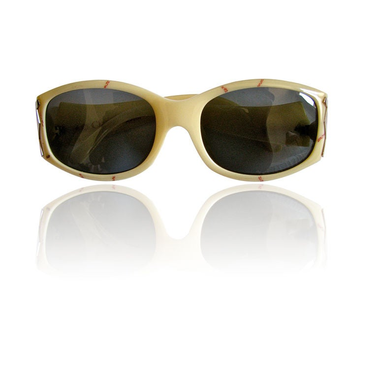 CHRISTIAN DIOR marbled sunglasses with gold temples For Sale