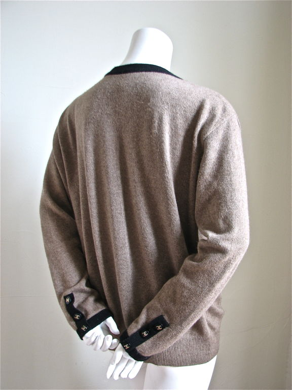 Chanel taupe & black cashmere cardigan 2