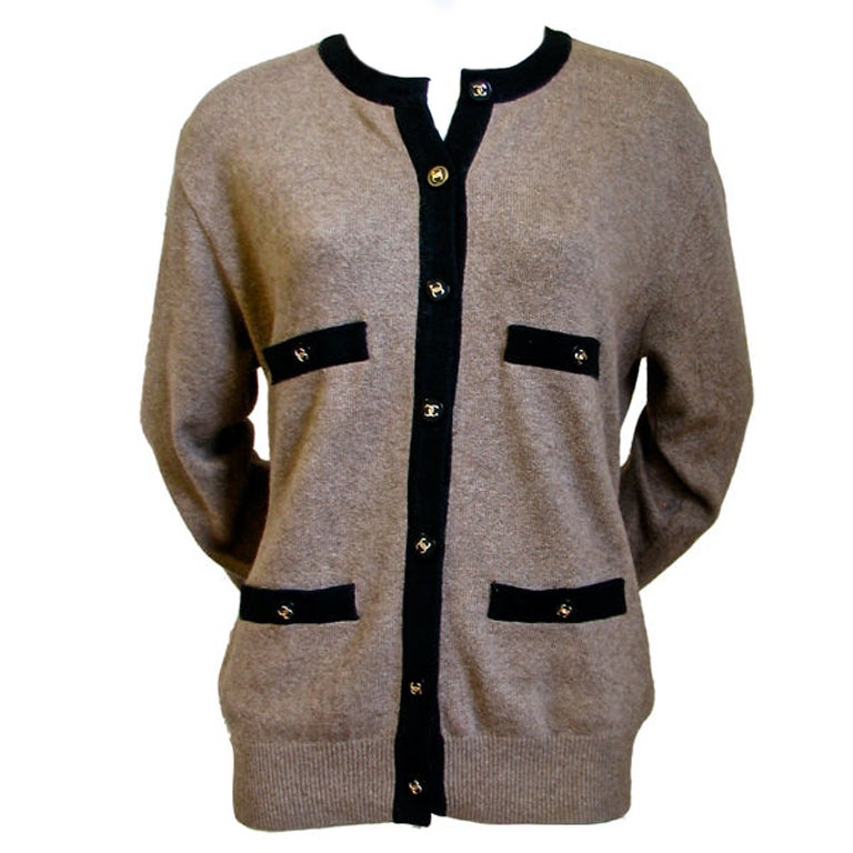 Chanel taupe & black cashmere cardigan 1