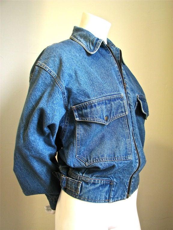 AZZEDINE ALAIA oversized denim jacket with fitted waist 2