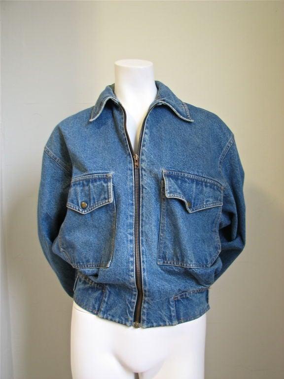 AZZEDINE ALAIA oversized denim jacket with fitted waist 4