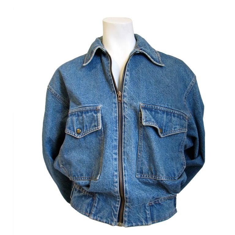 AZZEDINE ALAIA oversized denim jacket with fitted waist 1