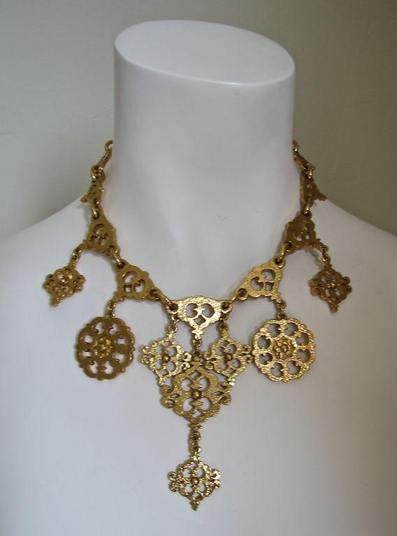 YVES SAINT LAURENT gilt filagree neckace 5