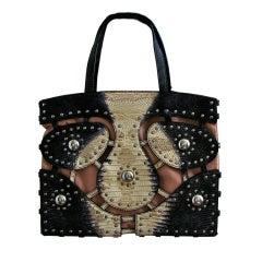 AZZEDINE ALAIA lizard purse with silver studs