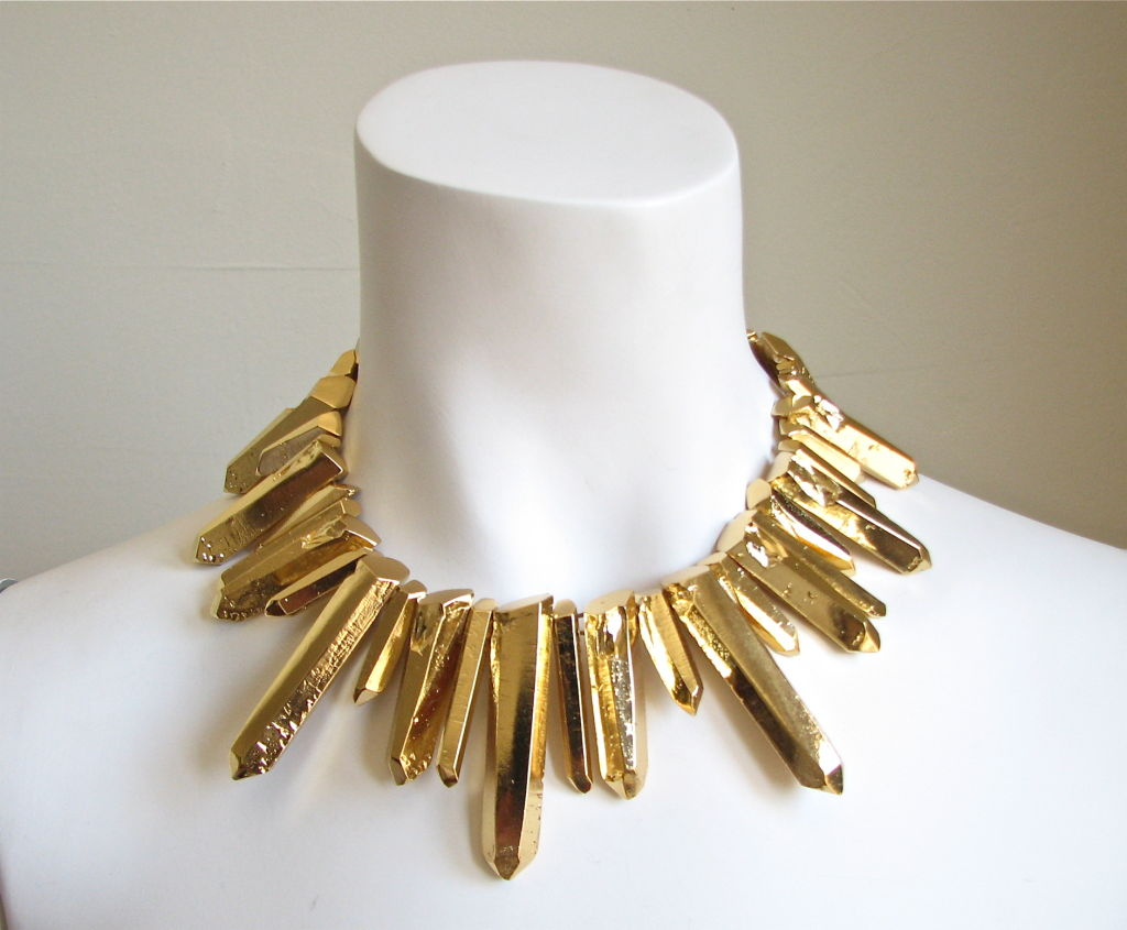 Breathtaking gilt 'crystal' collar. Very dramatic! Adjustable spring closure. Made in France. Excellent condition.