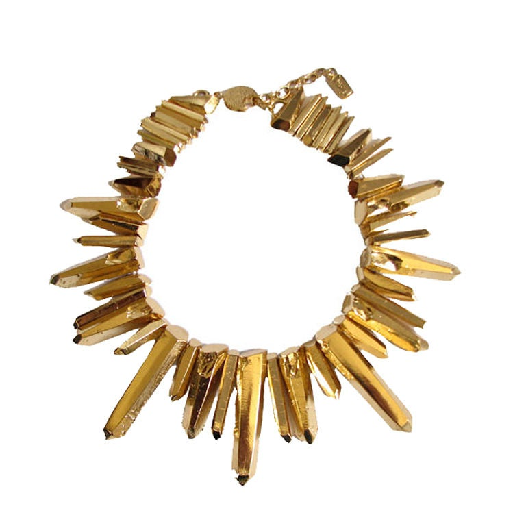 YVES SAINT LAURENT gilt 'prism' collar