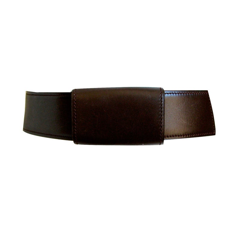 AZZEDINE ALAIA brown sleek leather belt