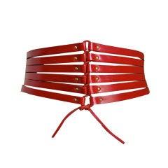 AZZEDINE ALAIA red leather corset belt