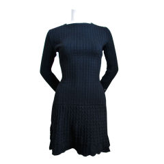 AZZEDINE ALAIA black 'crochet' knit dress