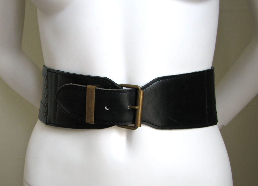 azzedine alaia black leather corset belt at 1stdibs
