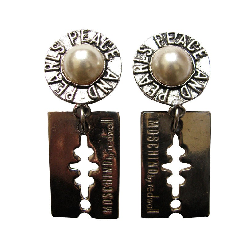 MOSCHINO silver and pearl 'razor blade' earrings