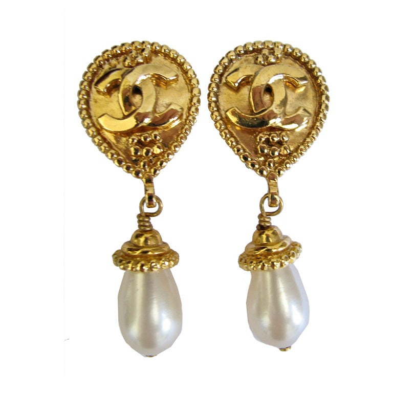 chanel cc gilt earrings with drop pearls at 1stdibs
