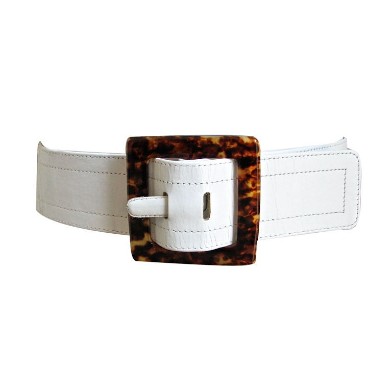 yves laurent leather belt with tortoise lucite
