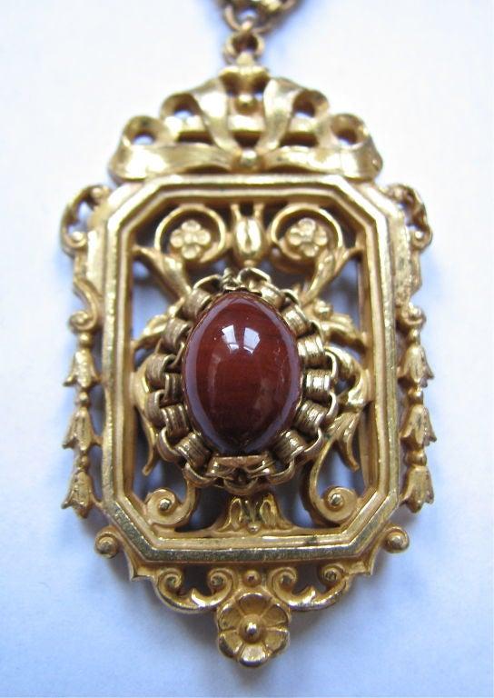 MIRIAM HASKELL gilt necklace with jasper 2