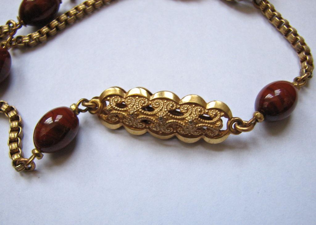 MIRIAM HASKELL gilt necklace with jasper 3