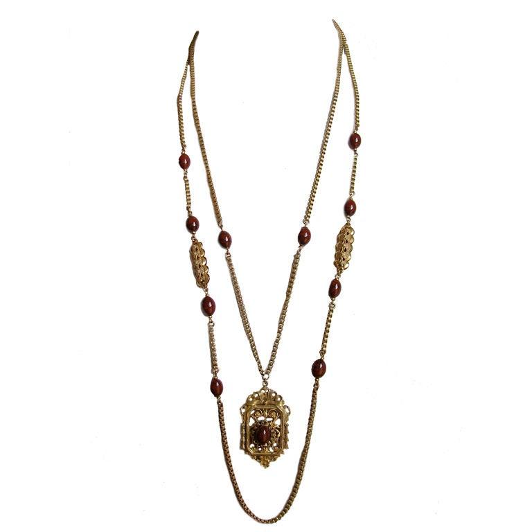 MIRIAM HASKELL gilt necklace with jasper 1