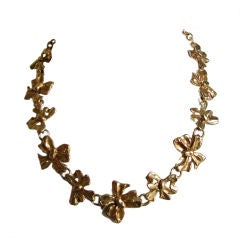 YVES SAINT LAURENT gilt 'bow' necklace