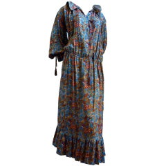1970's YVES SAINT LAURENT haute couture silk peasant dress