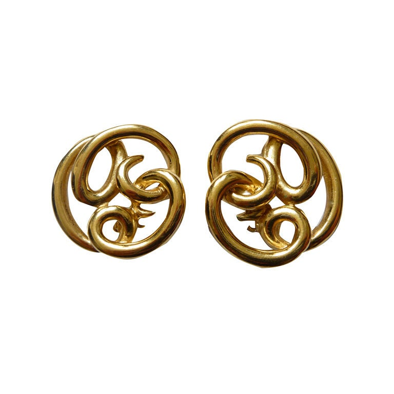 GIVENCHY gilt \'twisted wire\' earrings at 1stdibs