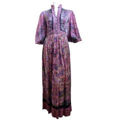 1970's LEONARD full length floral silk jersey couture dress