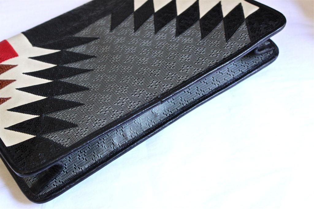 CARLOS FALCHI clutch with snakeskin trim 3