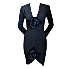 1980's YVES SAINT LAURENT dress with rosettes