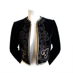 YVES SAINT LAURENT black cropped jacket with gold embroidery