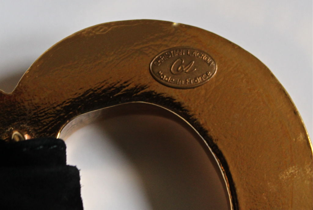 CHRISTIAN LACROIX wide suede belt with gilt heart buckle 2